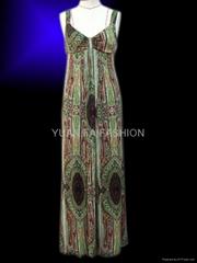 actinidia berry print elegent maxi dress