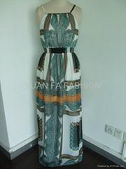 R395 雪紡圍巾布長裙