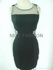 釘珠款式健康布網布鏤空連衣裙