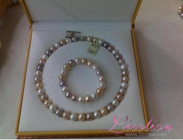 Wholesales 10.5-11.5mm multi-colors long potato shape pearl necklace & Pearl bra 1
