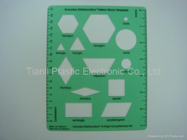 Plastic Teaching Aids  Pattern Block Template And Plastic Ruler