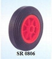 rubber wheel with red plastic rim