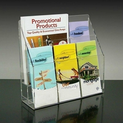 Acrylic brochure display stand multi compartments
