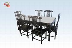 黑酸枝西餐桌7件套