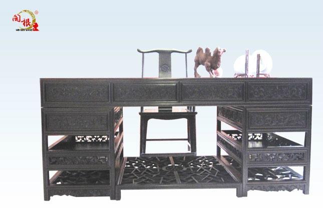 黑酸枝清式办公桌2件套 1