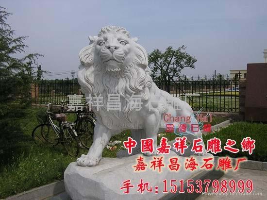 汉白玉石雕狮子 2