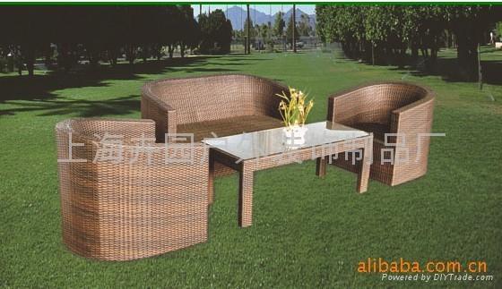 上海藤製傢具廠直銷pe仿藤沙發 2