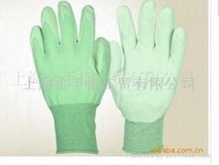 金手指手套廠生產13針尼龍PU塗層電子 園藝手套