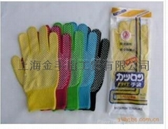 供應多種顏色晴綸PVC點塑手套