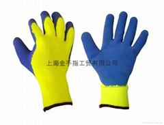 7針毛圈防寒保暖浸膠手套