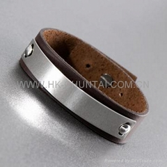 STAINLESS STEEL BROWN LEATHER BANGLE BRACELET