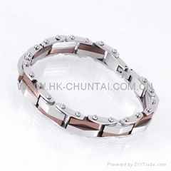 "8"" STAINLESS STEEL DUAL TONE WATCHBAND BRACELET"
