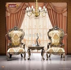 欧式古典布艺太子椅