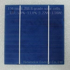156 multi 2BB B grade solar cells, EFF: 5.0%~13.0% (1.22W~3.16W)