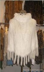 女士兔毛皮草純色披肩