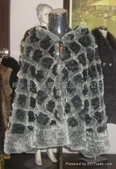 女士格子時尚獺兔皮草披肩 服飾