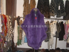 女士獺兔紫色高貴皮草長款披肩