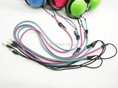 fashion colorful zip portable headphone