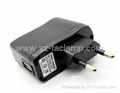 USB Charger Adaptor with Round Pin Plug (Black)