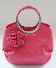 红色时尚欧美风格圆形手挽手提肩背两用女包