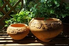Red terracotta ceramic pot