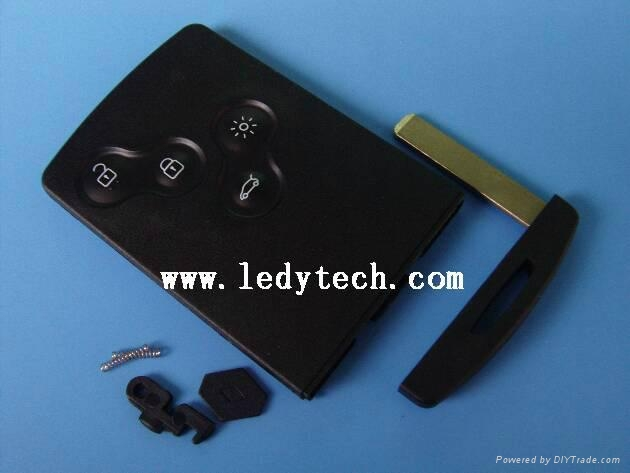 Renault Koleos 4 buttons smart key card with blade shell blank case housing 1