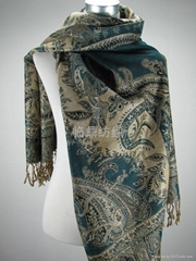 2011新款外貿時尚經典提花圍巾(人棉、腈綸、滌綸)