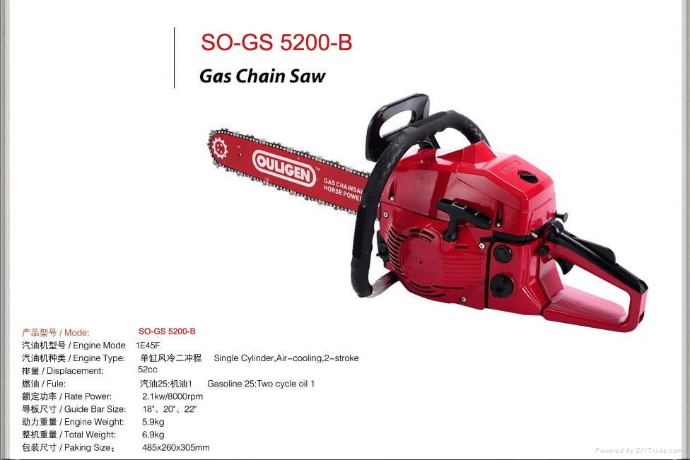 "2-Stroke 52CC 2.2kw 20""Gasoline Chain Saw Machine (SO-GS5200-B) 1"