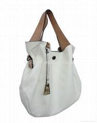 白色配棕色手挽休闲欧美时尚气质手提包包