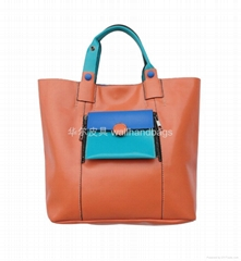 High-grade fabrics orange with green color collision portable oblique bag