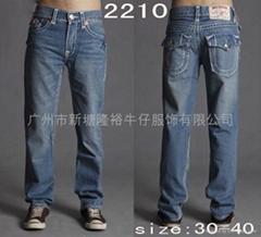 新時尚直腿粗斜紋棉布男士牛仔褲