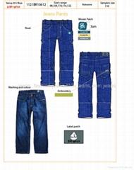 2012個熱銷售時尚可愛的儿童粗斜紋棉布牛仔褲孩子牛仔褲