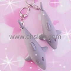 electronic gift,shark shape led sound keychain