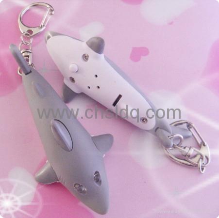 electronic gift,shark shape led sound keychain 2