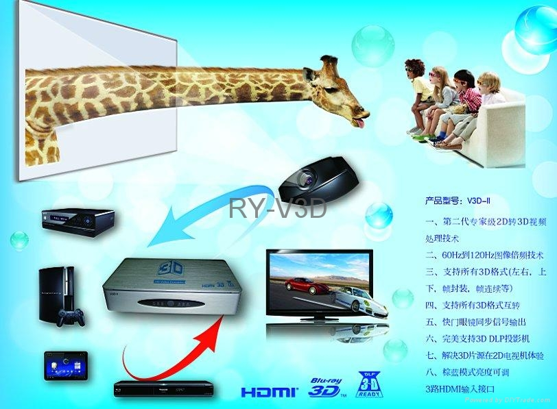 support 120HZ DLP projector 3D HD video converter 5