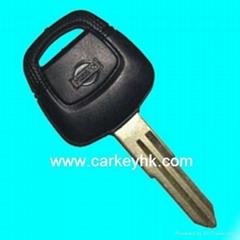 Nissan Sentra transponder key shell with black logo