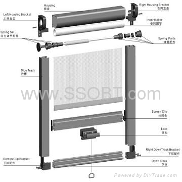 Retractable door screens g210 ssobt china for Pull down fly screen for doors
