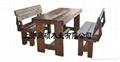 刻紋木傢具原木桌椅(三件套)