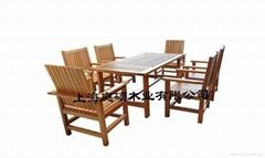 户外家具红雪松餐桌椅(七件套)