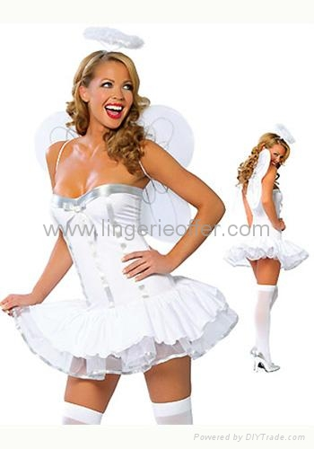 Sexy adult angel costume with halo