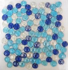 大圆形蓝色自由石玻璃马赛克水池瓷砖贴