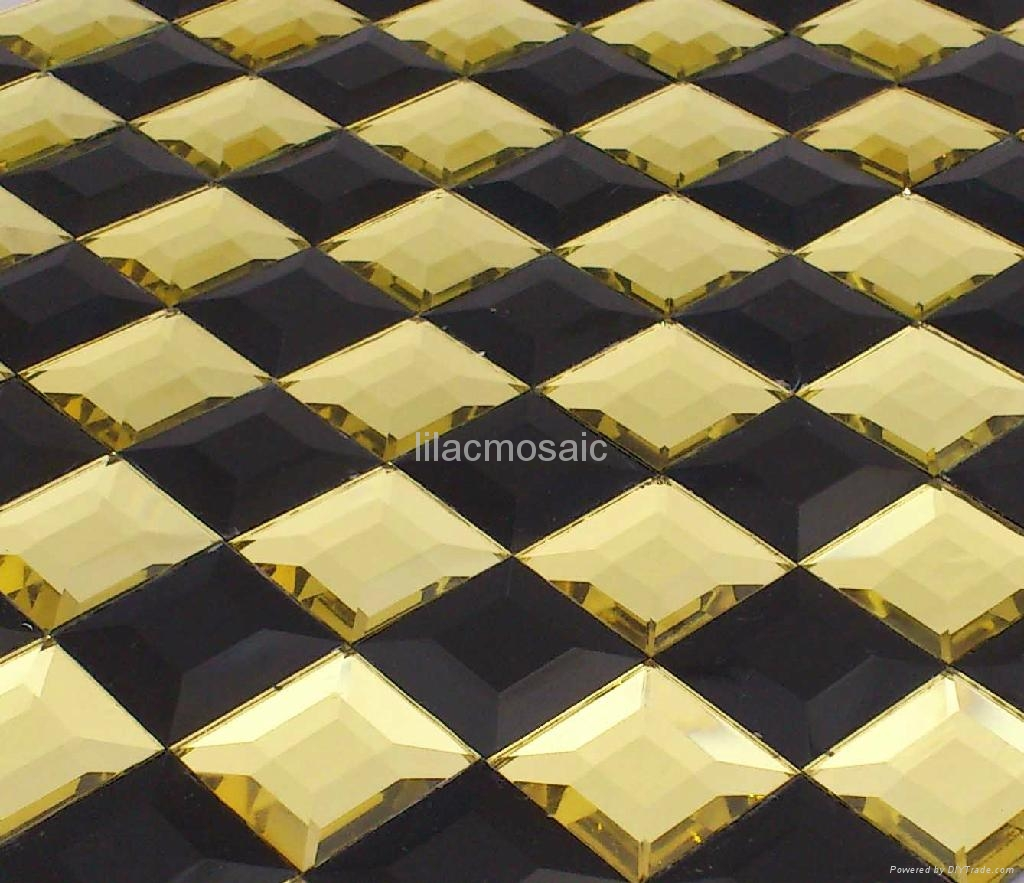 Supply Beveled Mirror Glass Mosaic Tile Gold Color For Club Ktv Disco Pub Decor