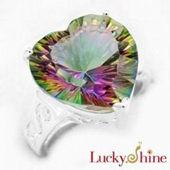 白水晶七彩虹石戒指