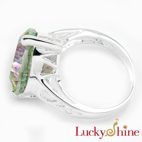 白水晶七彩虹石戒指 3