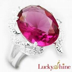 红刚玉石戒指