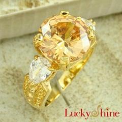 香檳石鋯石戒指
