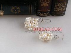 cluster style white pearl earrings with 925 silver hook$2.94