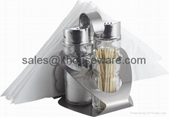 Salt,Pepper,Napkin Holder & Toothpick Holder Set