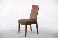 Walnut Solid Wood & Fabric Dining Chair (Dining Room)