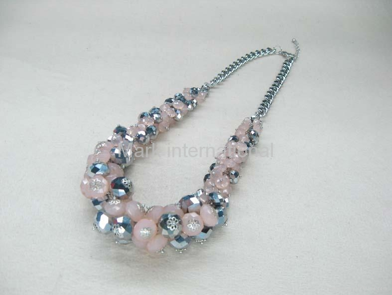 Fashion Jewelry crystal metal chain necklace 1